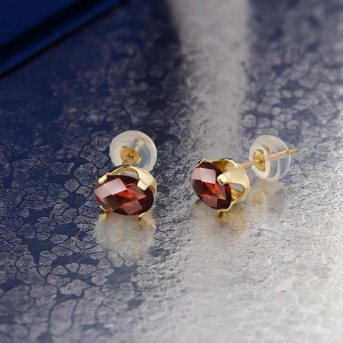 Womens 1.60 Ct Oval Checkerboard 7x5mm Red Garnet 14k Yellow Gold Stud Earrings F0N7N