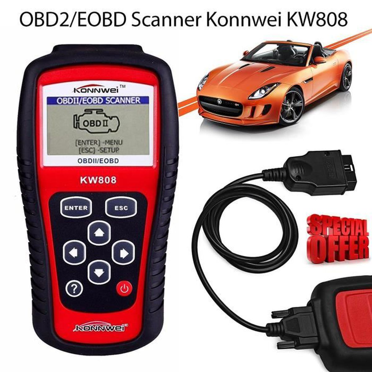 kw808 obdii obd2 appareil de diagnostic de voiture avec scanner et lecteur de codes achat. Black Bedroom Furniture Sets. Home Design Ideas
