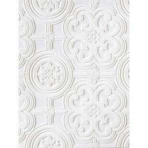 Blanc//Argent Sassari damassée Heavyweight Vinyl Papier peint-Rasch 519921
