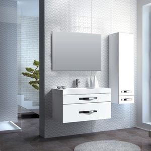 meuble salle de bain laque blanc 90 cm achat vente. Black Bedroom Furniture Sets. Home Design Ideas