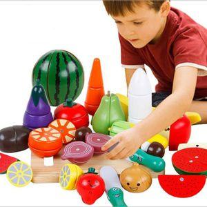 Pizza de fruits magnétique en bois pour enfants Jouer un jouet pour la