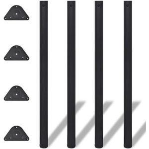 PIED DE TABLE 4 Pieds de table Noir à hauteur réglable 1100 mm