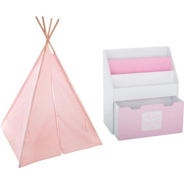 Tipi décoration rose H160 pour enfant + Bibliothèque rose avec bac de rangement sur roulette