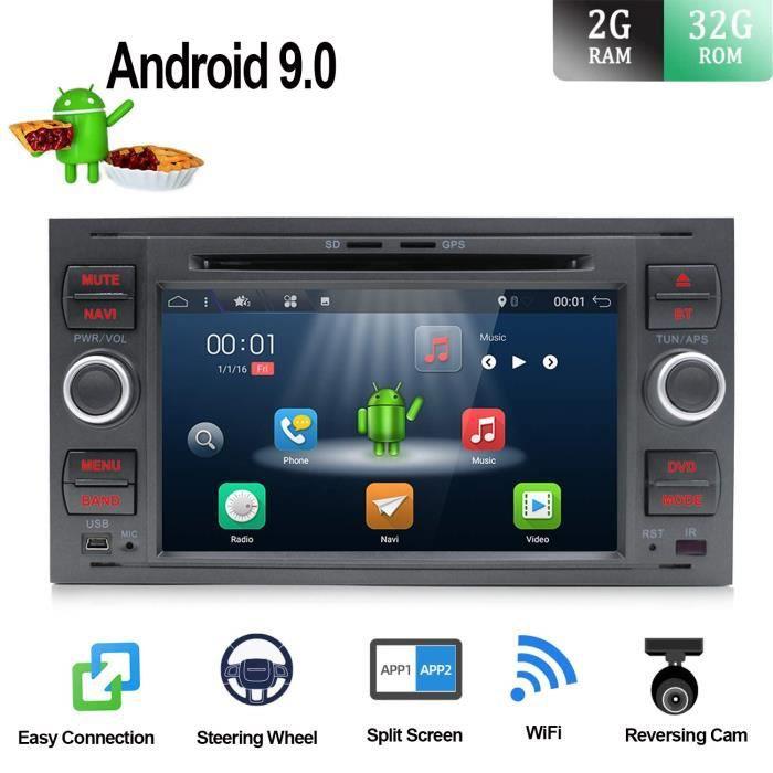 7 pouces Android 7.1 2G-RAM Quad Core Double voiture stéréo GPS Radio Navigation Fit pour Ford C-Max-Connect-Fiesta-Focus-Fusion-Gal