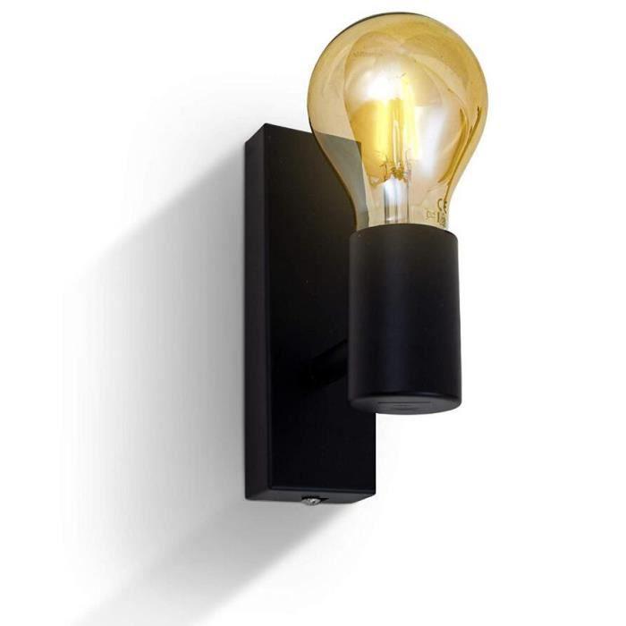 Applique Murale Luminaire E27 4W LED Ampoule Blanc Chaud Design Rétro Orientable et Pivotant Douille éclairage Intérieur Couloir