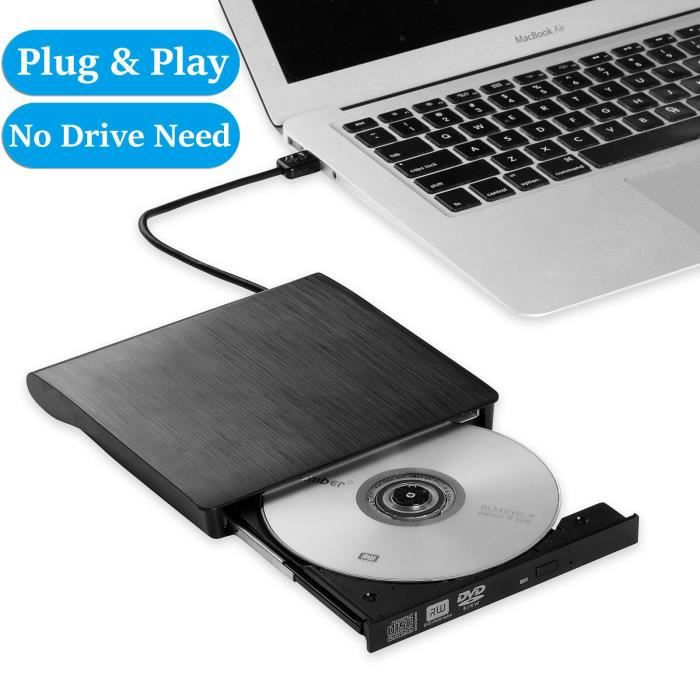 Lecteur Graveur DVD CD Externe USB 3.0 Ultra Slim Portable- Graveur Lecteur Externe Drive DVD ROM CD USB CD Player RW Writer/Rewrite