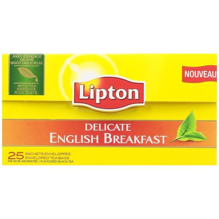 Lipton Thé Delicate English Breakfast 25 Sachets 38g - Lot de 6