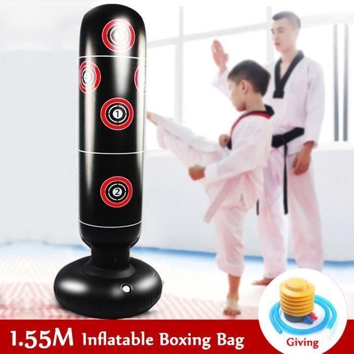 Sac De Frappe Boxe Sur Pied 155 CM Punching Ball Gonflable Adultes Enfants