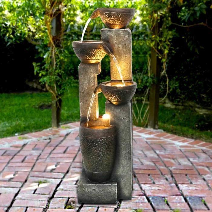 FONTAINE DE JARDIN Fontaine d'ext-eacute,rieur moderne de 101 cm avec sons d'eau apaisants, lumi-egrave,re LED -eacute,lectriqu129