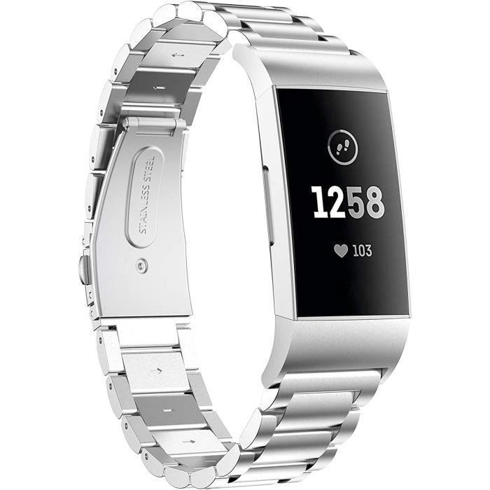 TOPsic Fitbit Charge 3 Bracelets de Montre, Acier Inoxydable Bande de Remplacement en Métal Sangle Bracelet pour Fitbit Charge 3/Cha
