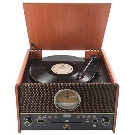 GPO Chesterton - 4 en 1 -Tourne-disque, lecteur CD, USB, radio FM, lecteur de cassettes, AUX IN, haut-parleurs intégrés