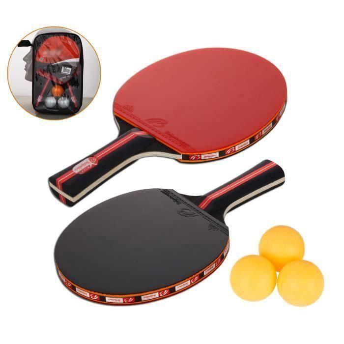Raquette De Ping Pong, Set De Tennis De Table, 2 Raquette Ping Pong De Peuplier+3 Balle+1 Sac P15357