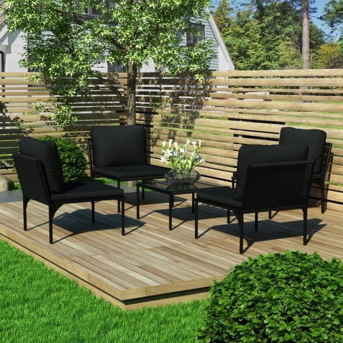 #17938 Ensemble repas de jardin Professionnel - Ensemble Table et Chaise de Jardin 5 pcs - avec coussins Noir PVC Parfait