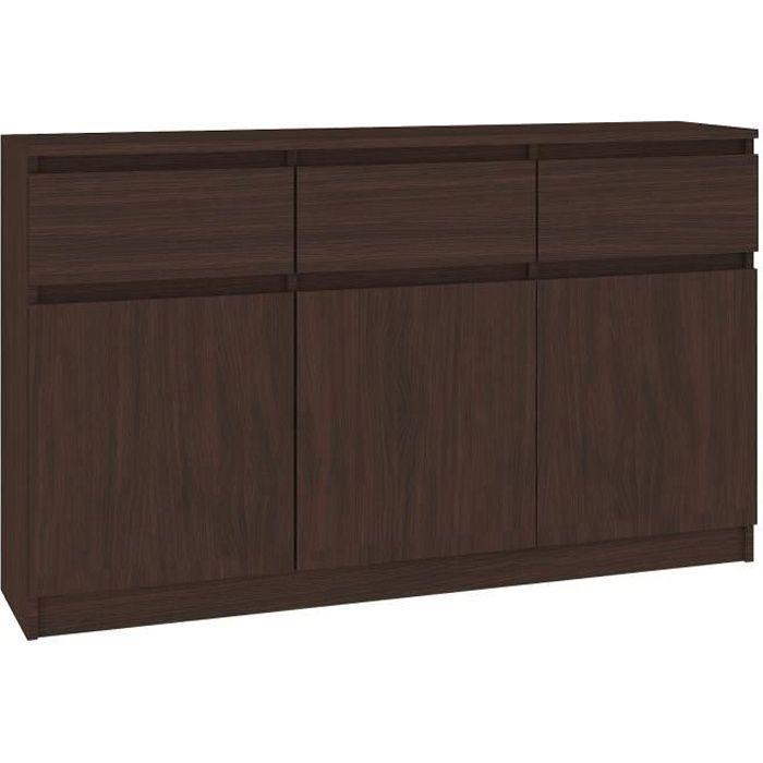 GRACE - Buffet Enfilade moderne salon/séjour 3 tiroirs 3 portes - 138x99x40 cm - Commode contemporaine - Meuble de rangement -