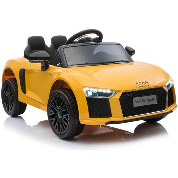 Voiture électrique Audi R8 Small, jaune, sous licence d'origine, alimentée par batterie, portes ouvrantes, moteur 2x 35 W
