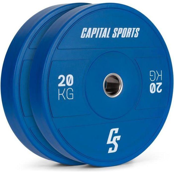 Disques pour haltères, barres Cross-Training et olympiques -CAPITAL SPORTS Nipton 2021 -2x 15kg - Bleu