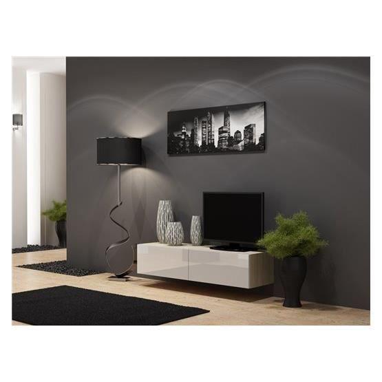 Meuble tv design suspendu Vito 140cm bois et blanc