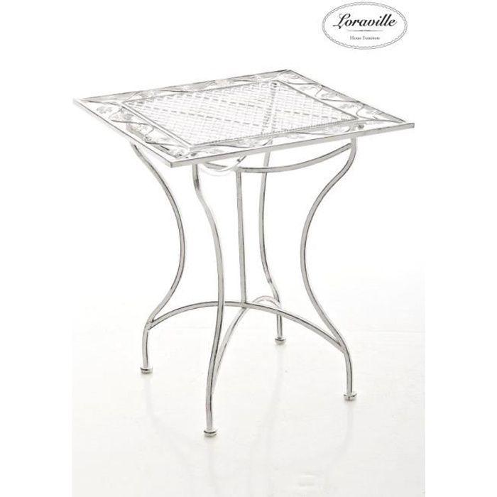 CLP Table de jardin en fer forgé ASINA 60 x 60 cm, fabrication à la main au style antique avec précision, 2 couleurs au choix72 c...