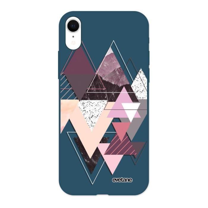 Coque pour iPhone Xr Silicone Liquide Douce bleu marine Triangles Design Ecriture Tendance et Design Evetane