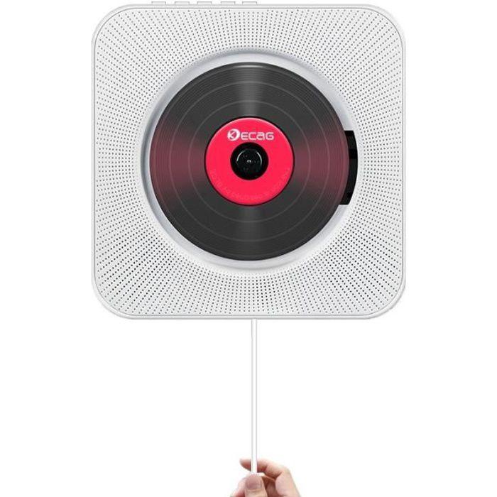 Lecteur CD Boombox Bluetooth audio portable avec télécommande Télécommande Radio FM Haut-parleurs HiFi intégrés USB MP3-Blanc