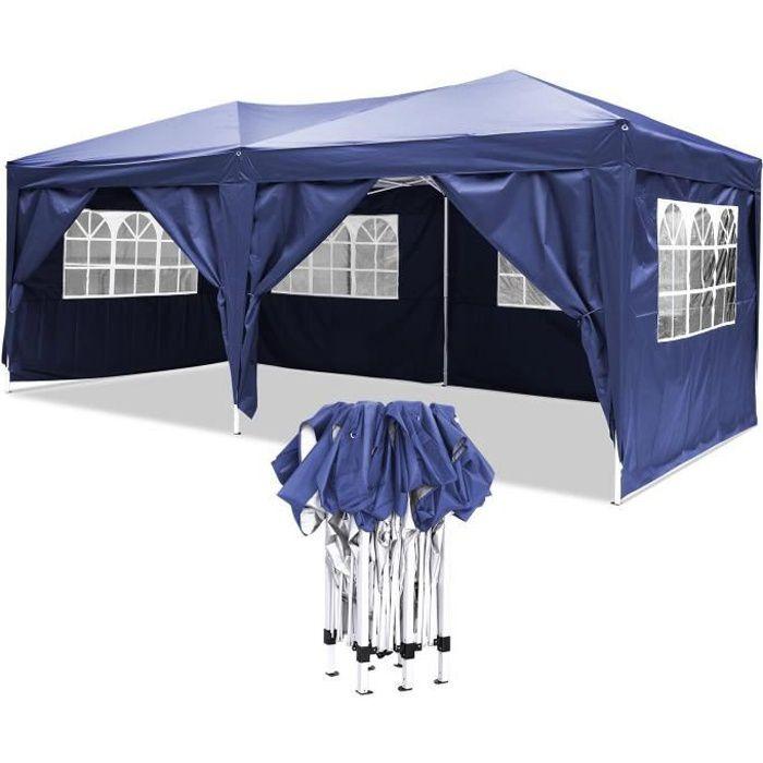Tonnelle tente de réception 3 x 6 m pliante pavillon chapiteau barnum - Bleu