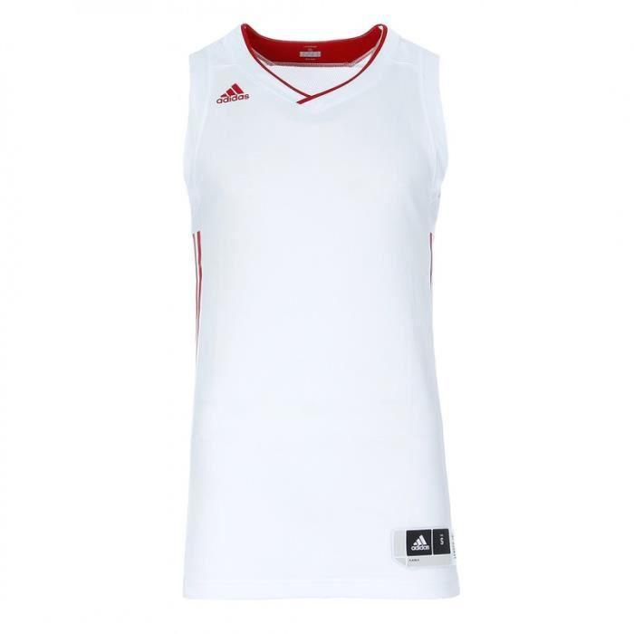 Maillot basketball blanc/rouge homme Adidas Ekit