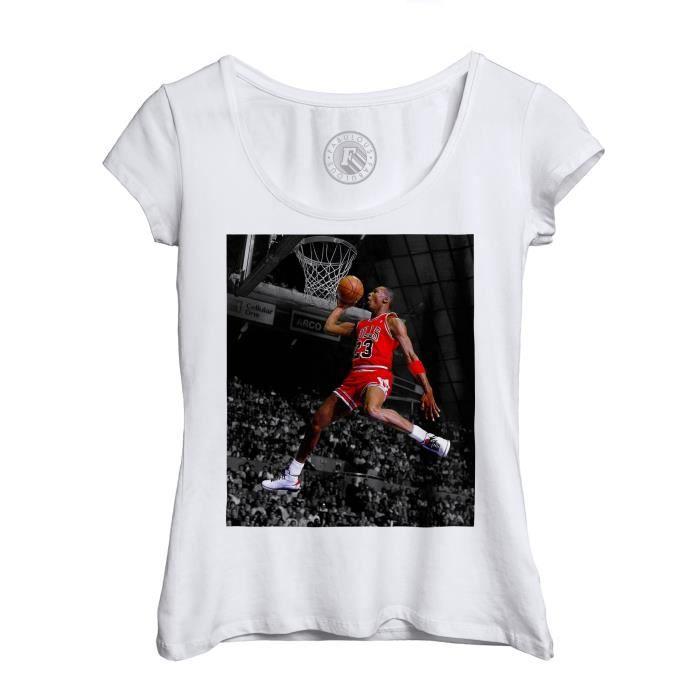 T-shirt Femme Col Echancré Michael Jordan Gros Dunk Chicago Bulls Basketball GOAT