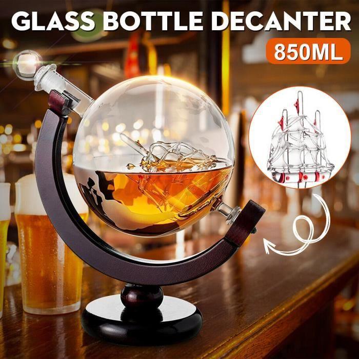 Whisky Decanter Globe Set Crystal Wine Decanter Terre avec bateau à voile