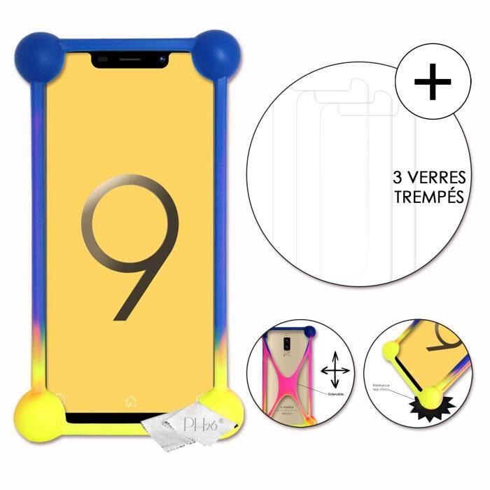 Super Pack coque bumper multicouleur antichoc en silicone de qualité pour V-Mobile S9 (2019) avec 3 Verres trempés de protection
