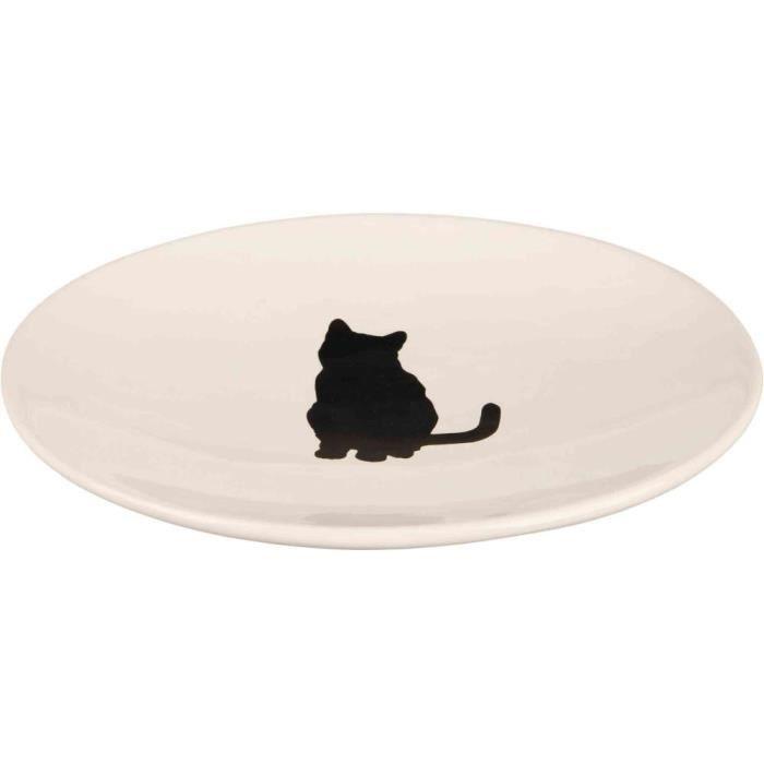 Ecuelle chat, céramique - 18 × 15 cm, blanc