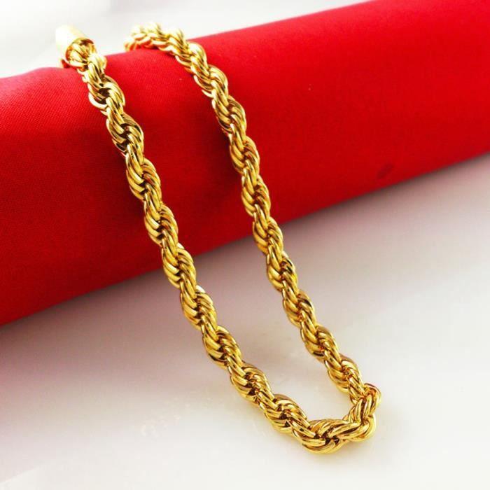 CHAINE DE COU SEULE Collier corde plaqué or jaune 18 carats Femme homm