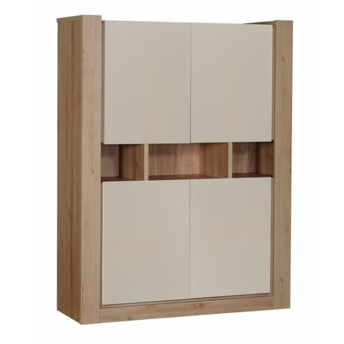 Armoire de salon 4 portes blanc norton l 130 x l 45 x for Armoire de rangement salon