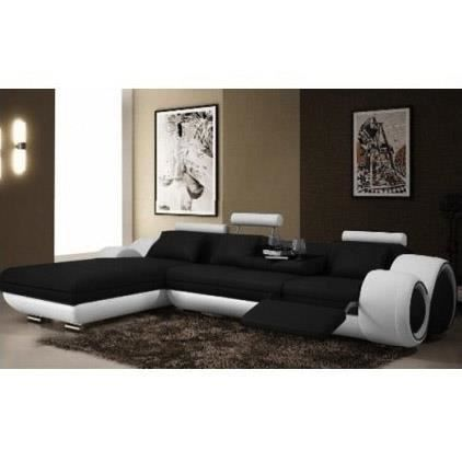 canap d 39 angle avec m ridienne cuir noir achat vente canap sofa divan cuir soldes d. Black Bedroom Furniture Sets. Home Design Ideas