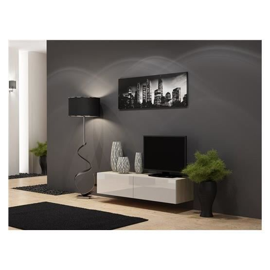 meuble tv design suspendu vito 140cm bois et blanc achat. Black Bedroom Furniture Sets. Home Design Ideas