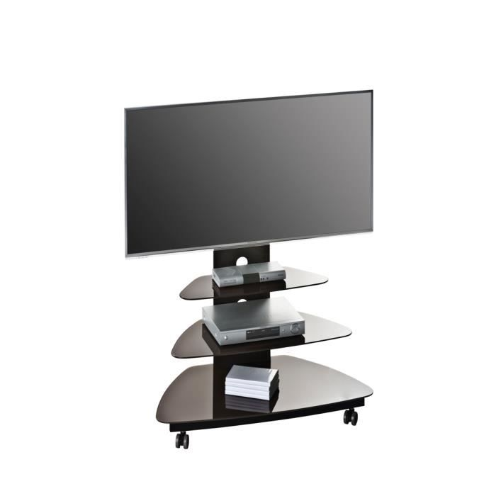 meuble tv design m tal noir verre lave luzia achat. Black Bedroom Furniture Sets. Home Design Ideas