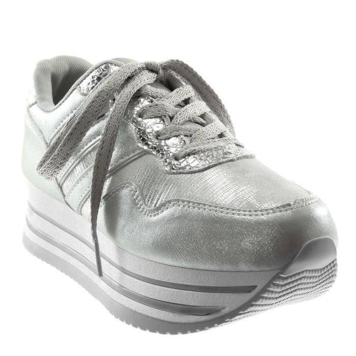 Compensée Sporty Chaussure Mode Angkorly Basket chic 4A5jLc3RqS