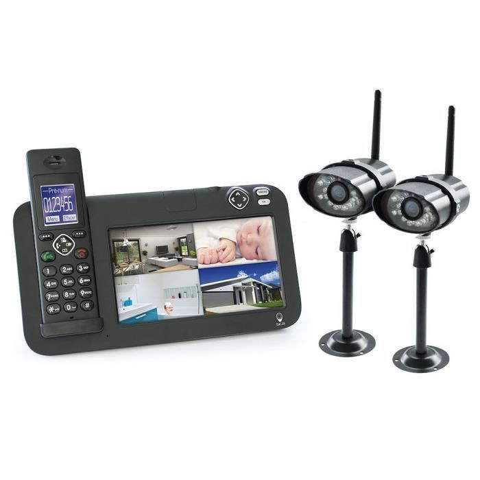 kit vid osurveillance 2 cam ras 1 t l phone dect achat vente kit vid osurveillance kit. Black Bedroom Furniture Sets. Home Design Ideas