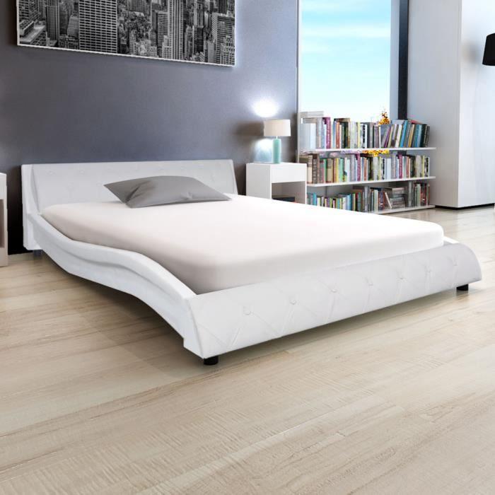 STRUCTURE DE LIT Cadre de lit 140 x 200 cm Cuir artificiel Blanc