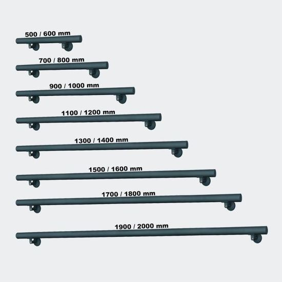 Kit Main courante Rambarde Support mural 60cm Anthracite Escaliers Poign/ée