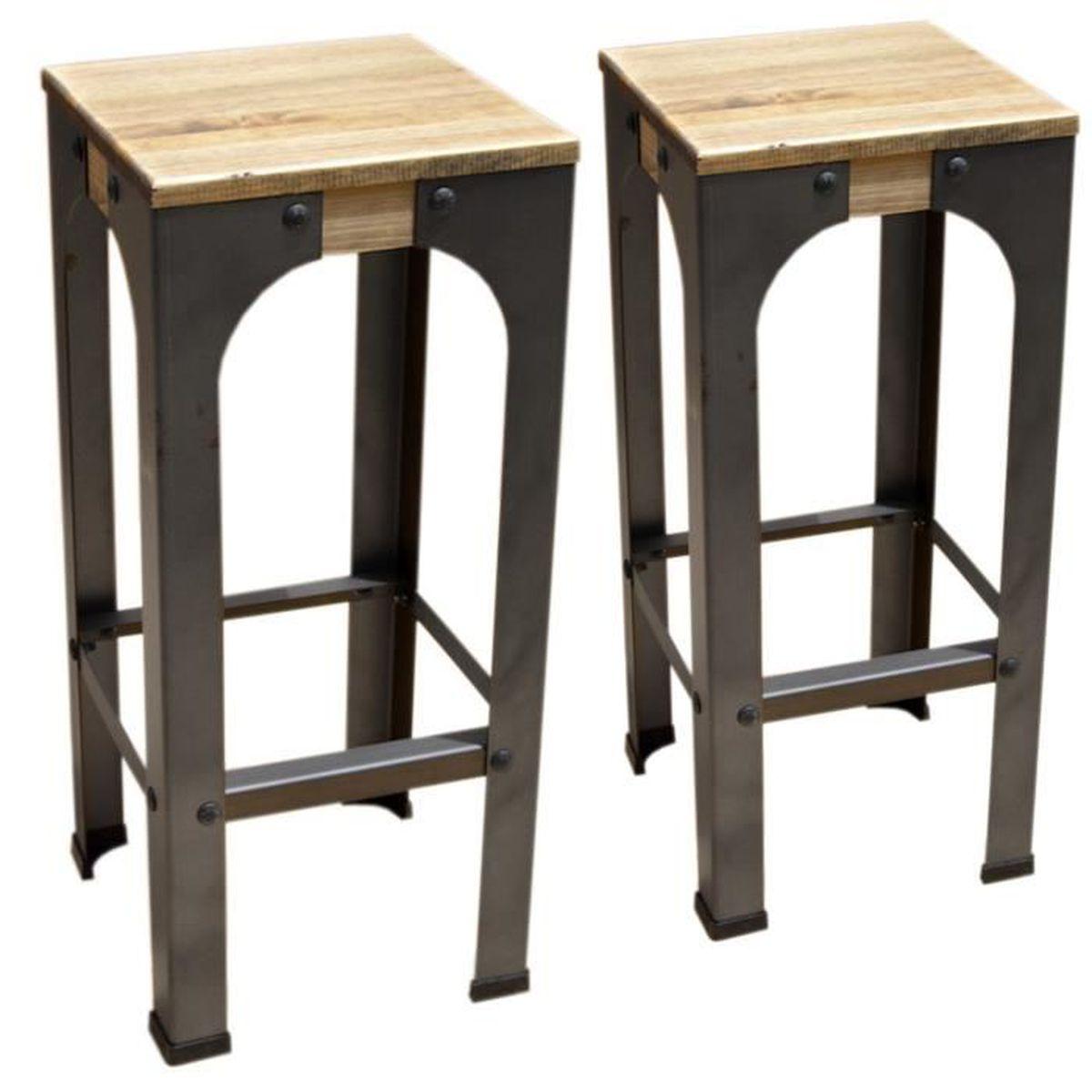 Lot de 6 Tabourets de bar - industriel vintage bois et métal