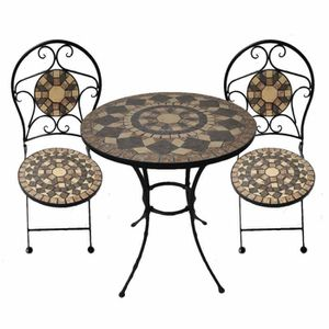 Table fer forge mosaique achat vente table fer forge mosaique pas cher cdiscount for Achat table de jardin mosaique
