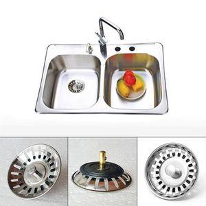 diam/ètre: 78/mm Passoire d/échets Plug Plumb mat/ériel en acier inoxydable /évier de cuisine Passoire Plug Bonde /à panier /à double fonction et prise de taille pour /évier UK