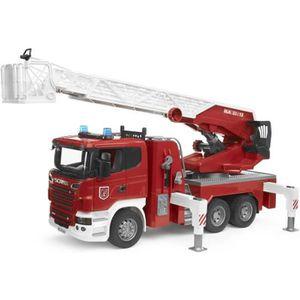 VOITURE - CAMION BRUDER - Camion pompier SCANIA R-serie, avec échel