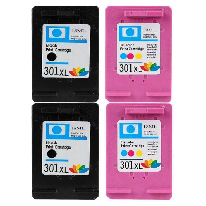 Cartouches d'encre HP 301 compatibles 4x Pour HP 301 XL DeskJet 2510 2540 2050 2050A 3050se 1050A 3050 2542 Envy 4500 4502 5530 5532