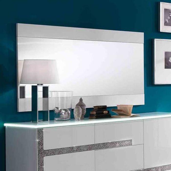 Miroir rectangulaire Blanc laqué - CRAC - Blanc - Bois - L 150 x l 2 x H 81 cm - Miroir