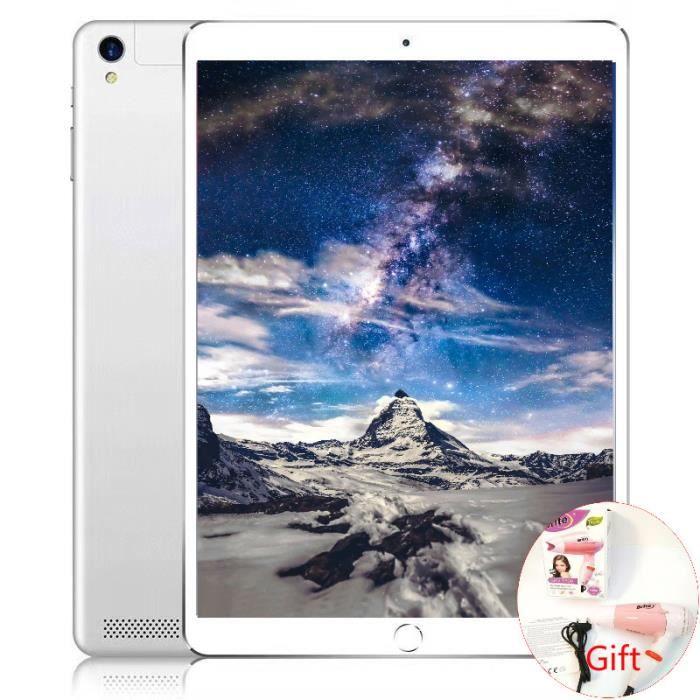 Carbayta 10.1 Pouces Octa Core Mt6592 Ips Cellulaire 2 Sim Téléphone Tablet Pc 2G Gsm Gps Wifi Android(Argent)