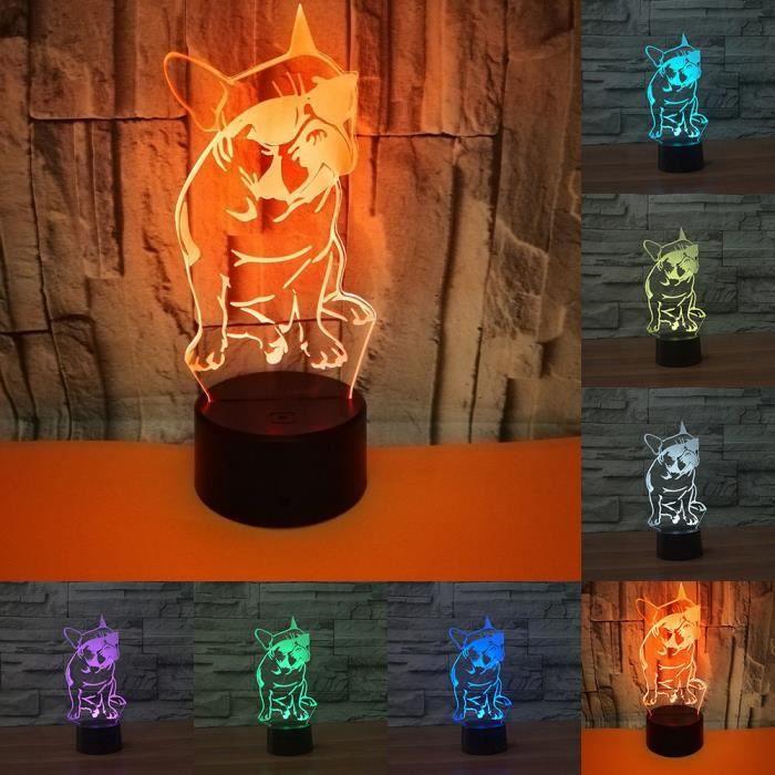 Bouledogue Français De Soleil 3D LED Nuit Lumière Chien Décoratif Éclairage Changement de Couleur Lampe Cadeau pour Les Amateurs