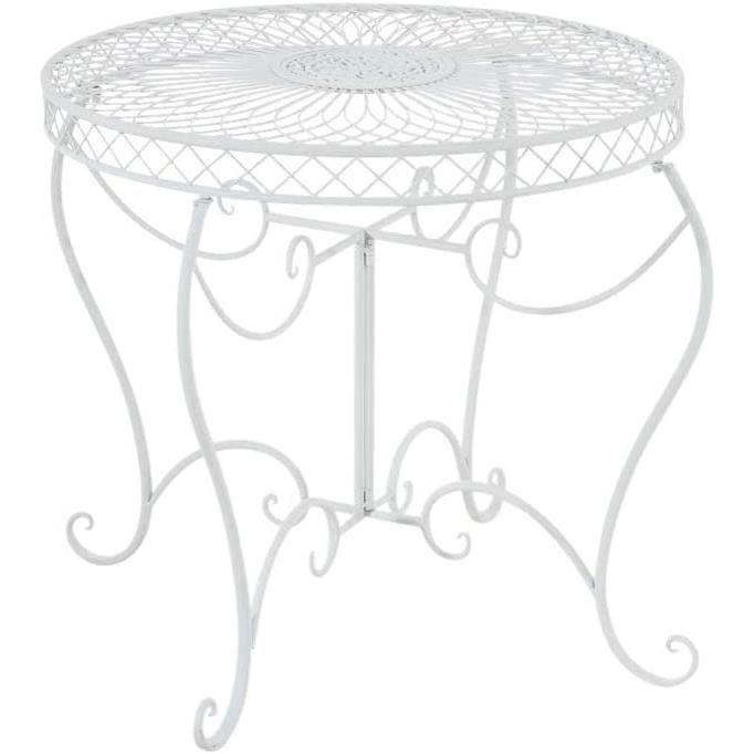 CLP Table Ronde de Jardin Sheela- Table de Jardin Design en Fer Forgé - Table de Terrasse Style Antique avec Diamètre Ø 76 cm -267
