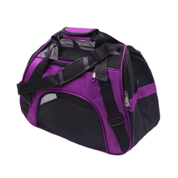 Sac de transport,Nylon animaux respirant maille sac de voyage Portable chat chiot sortant sac à main Cage sac à dos - Type Purple-L