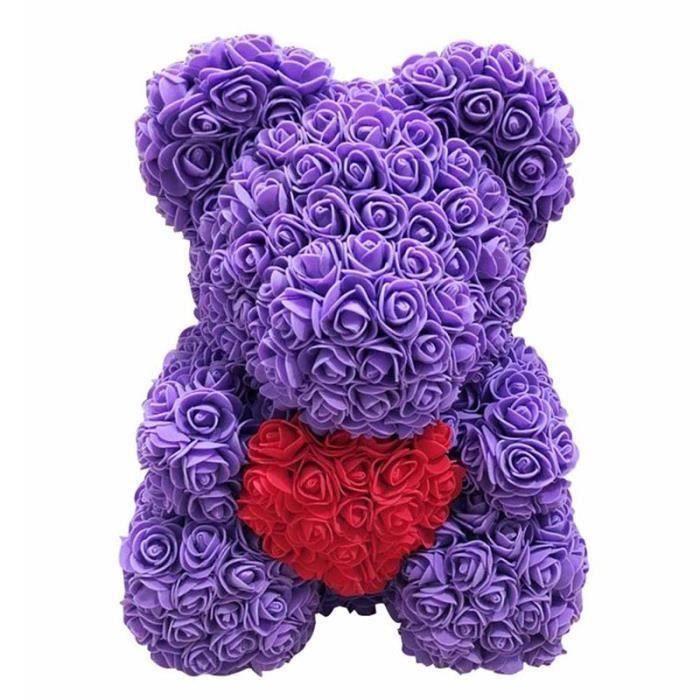 Rose Flower Saint Valentin Ours Des Rose pour Cadeau d'anniversaire Cadeau de la Saint-Valentin Décoration de Mariage 25cm Aa13808